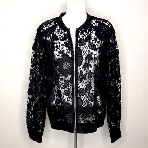 I JEANS BY BUFFALO Black Lace Zip Up Jacket Sz: L